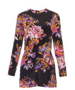 Mary Katrantzou | Abstract Poppy-Print Silk-Crepe Playsuit