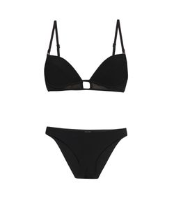 Zimmermann | Ticking Bonded Mesh-Panel Tulip-Cup Bikini