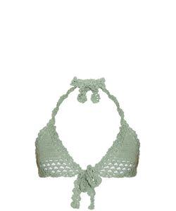 SHE MADE ME | Hira Tie-Front Triangle Crochet Bikini Top