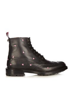 Gucci   Lace-Up Embroidered Leather Brogue Boots