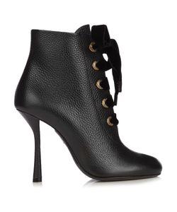 Lanvin | Velvet Lace Leather Ankle Boots
