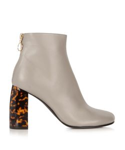 Stella Mccartney | Tortoiseshell Block-Heel Faux-Leather Ankle Boots