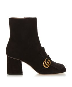 Gucci | Marmont Fringed Suede Boots