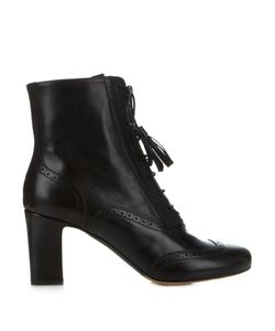 Tabitha Simmons | Afton Block-Heel Leather Ankle Boots