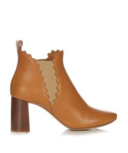 Chloe | Lauren Scallop-Edged Leather Ankle Boots