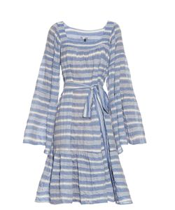 Lisa Marie Fernandez | Square-Neck Striped Cotton-Blend Dress