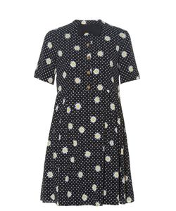Saint Laurent | Bow Tie-Embellished Daisy-Print Dress