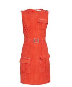 Mugler | Front-Pocket Belted Suede Dress