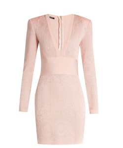 Balmain | V-Neck Lace-Knit Dress