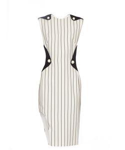 Mugler | Contrast-Panel Pinstriped Crepe Dress