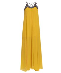 Roberto Cavalli   Pleated Cross-Back Silk-Georgette Dress
