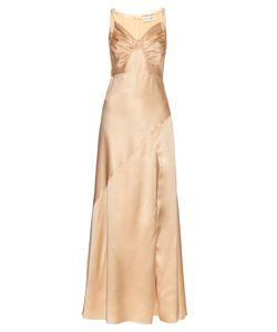 Saint Laurent | Ruched-Drape Silk-Satin Gown