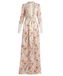 Giambattista Valli | Daisy-Print Lace-Trimmed Silk-Chiffon Gown