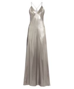 GALVAN | V-Neck Sleeveless Silk-Satin Gown