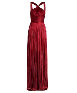 Maria Lucia Hohan | Scarlet Silk-Tulle Pleated Gown