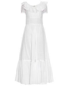 Saint Laurent | Ruffle-Trimmed Cotton-Organza Maxi Dress