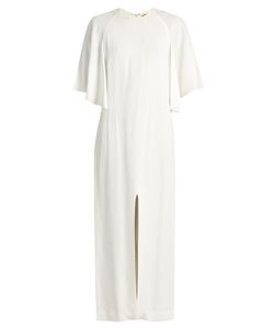 Adam Lippes | Flounce-Sleeved Satin-Crepe Dress