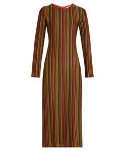 Marco De Vincenzo | -Stripes Round-Neck Midi Dress