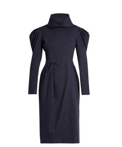 A.W.A.K.E. | Funnel-Neck Pinstriped Brushed-Cotton Dress