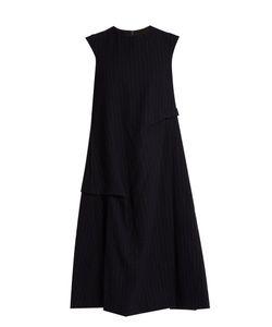 Y'S BY YOHJI YAMAMOTO   Pinstriped Sleeveless A-Line Wool Dress