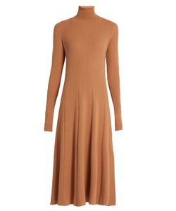 RYAN ROCHE   Roll-Neck Ribbed-Knit Cashmere Dress