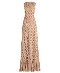 RYAN ROCHE | Ruffled-Hem Cashmere Crochet-Knit Maxi Dress