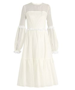 ANNA OCTOBER | Striped-Organdy Midi Dress