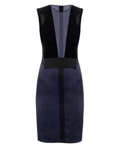 GALVAN | Plunge-Neck Velvet And Satin Dress