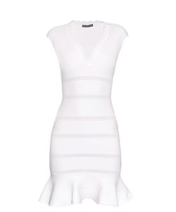 Alexander McQueen | Cap-Sleeve Cotton-Blend Peplum Dress