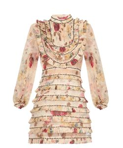 Zimmermann | Mischief Print Pleated Silk-Organza Dress