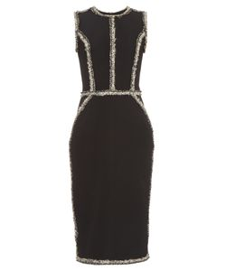 Oscar de la Renta | Sleeveless Tweed-Trimmed Pencil Dress