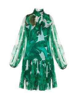Dolce & Gabbana | Banana Leaf-Print Tie-Neck Chiffon Dress