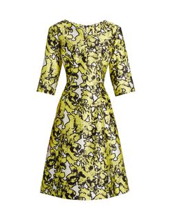 Oscar de la Renta | V-Neck Print Full-Skirt Silk Dress