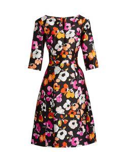 Oscar de la Renta | V-Neck Print Full-Skirt Silk Dress