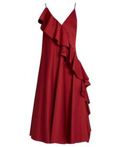ANNA OCTOBER   Asymmetric-Ruffled Sleeveless Dress