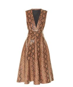 Alexander McQueen | Snakeskin-Effect Leather A-Line Midi Dress