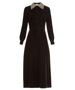 Saint Laurent | Embellished-Collar Velvet Midi Dress