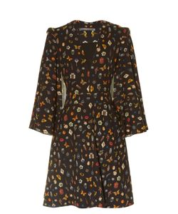 Alexander McQueen | Obsession-Print Cape-Sleeved Crepe Dress