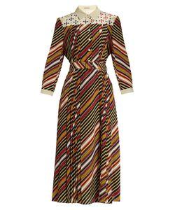 Bottega Veneta | Diagonal-Print Silk-Crepe Midi Dress