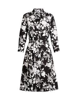 Oscar de la Renta | Rosebush-Print Long-Sleeved Cotton Dress