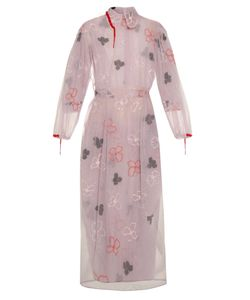 Simone Rocha | Spooky Flower-Embroidered Long-Sleeved Dress