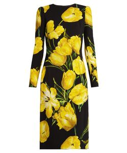 Dolce & Gabbana | Tulip-Print Long-Sleeved Crepe Dress