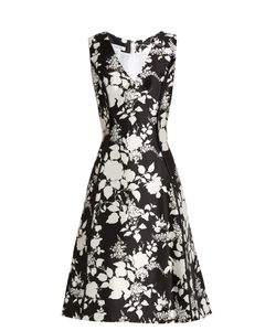 Oscar de la Renta | Rosebush-Print Sleeveless Silk-Blend Dress