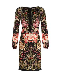 Roberto Cavalli | Galaxy Garden-Print Lace-Up Jersey Dress