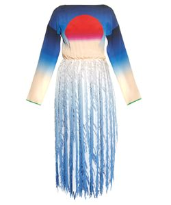 Marco De Vincenzo | Sun-Print And Fringed-Georgette Dress