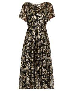 Valentino   Boat-Neck Fil Coupé Silk-Blend Dress