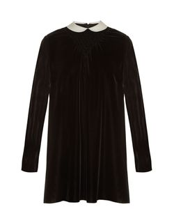 Valentino | Contrast-Collar Smocked Velvet Dress