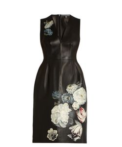 Alexander McQueen | Hand-Painted Flowers Leather Dress