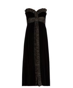 Miu Miu | Bow-Front Strapless Silk-Faille Trim Velvet Dress