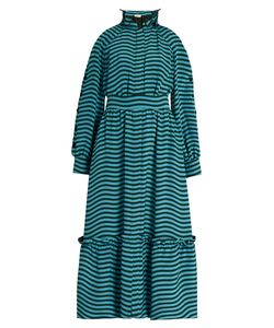 Fendi | Ruffled-Neck Striped Cady Midi Dress